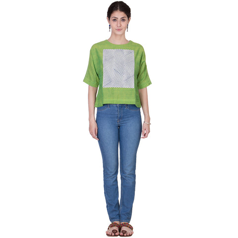 Lime Green Mangalgiri Top by ans by astha & sidharth