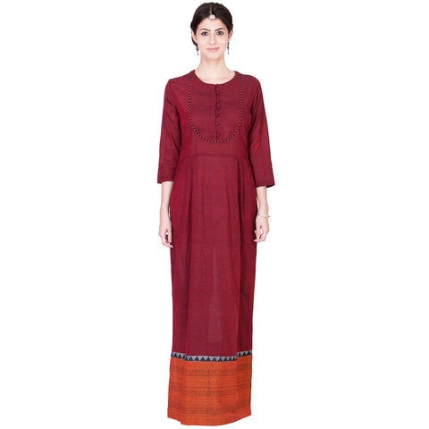 Maroon Cotton Maxi by ans by astha & sidharth