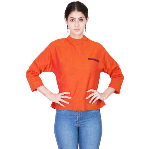 Orange Mangalgiri Cotton Top by ans by astha & sidharth
