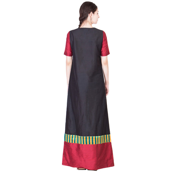Black And Maroon Cotton Silk Maxi