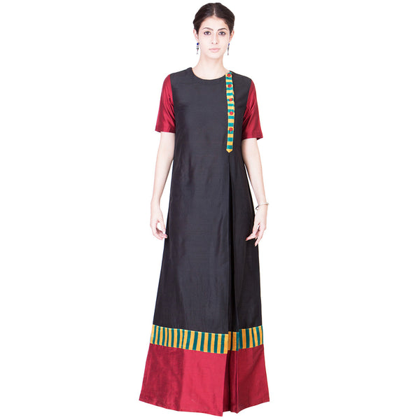 Black And Maroon Cotton Silk Maxi by ans by astha & sidharth