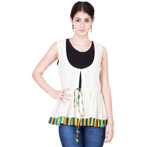 Ecru Muslin Front Open Top by ans by astha & sidharth