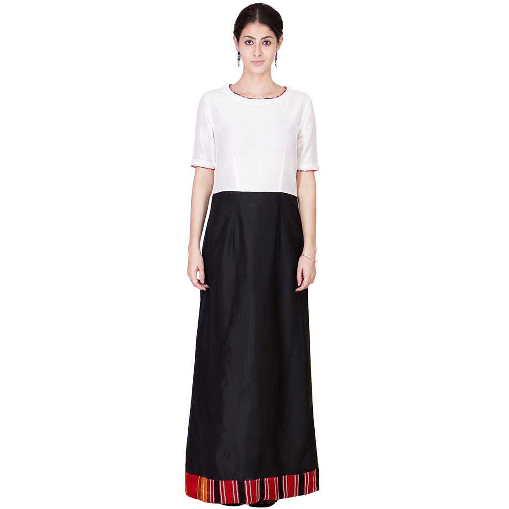 Black & White Cotton Silk Maxi by ans by astha & sidharth