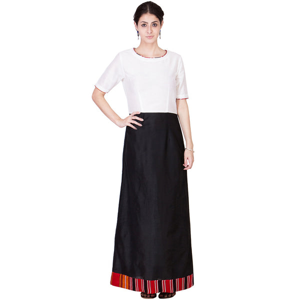 Black & White Cotton Silk Maxi