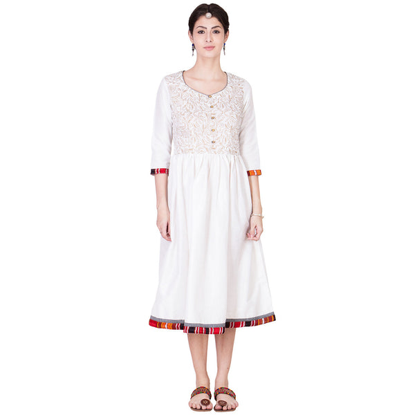 Off White Cotton Silk Dress by ans by astha & sidharth