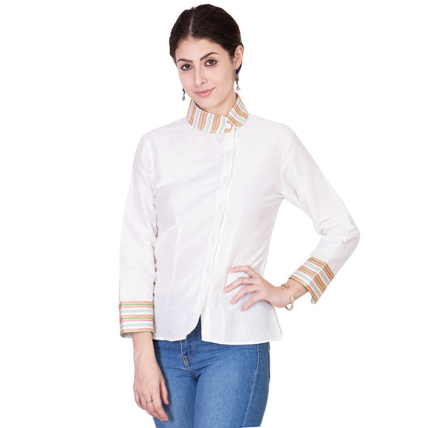 White Cotton Silk Top