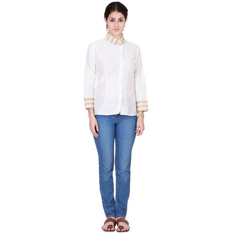 White Cotton Silk Top by ans by astha & sidharth