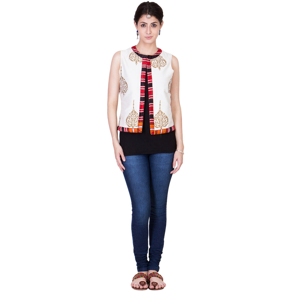 Off White Cotton Silk Waistcoat by ans by astha & sidharth