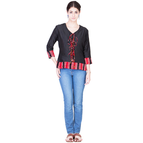 Black Cotton Silk Top by ans by astha & sidharth