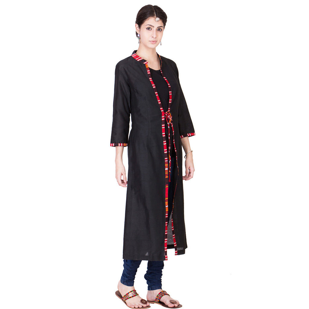 Black Cotton Silk Wrap by ans by astha & sidharth