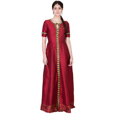 Maroon Cotton Silk Maxi by ans by astha & sidharth