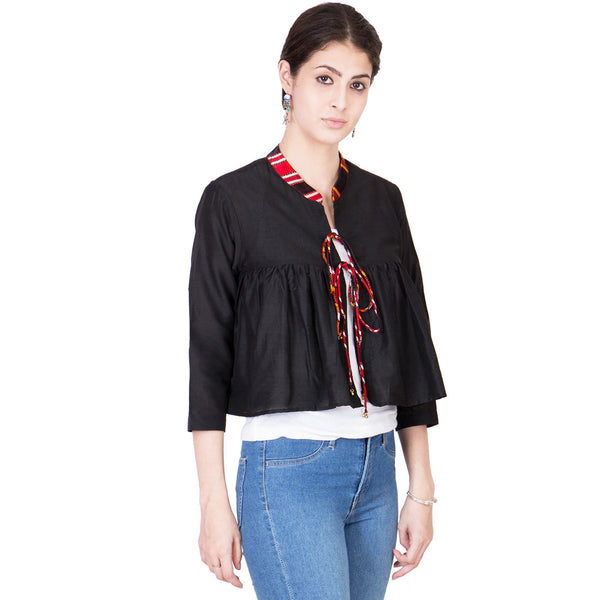 Black Cotton Silk Cape