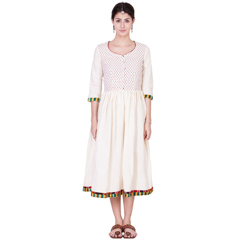Ecru Muslin Dress by ans by astha & sidharth