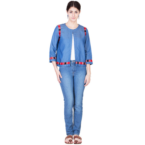 Blue Denim Short Jacket by ans by astha & sidharth