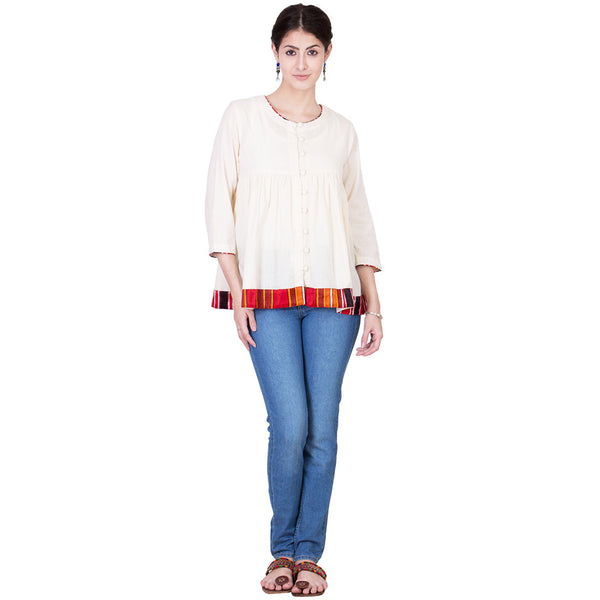 Ecru Cotton Top by ans by astha & sidharth