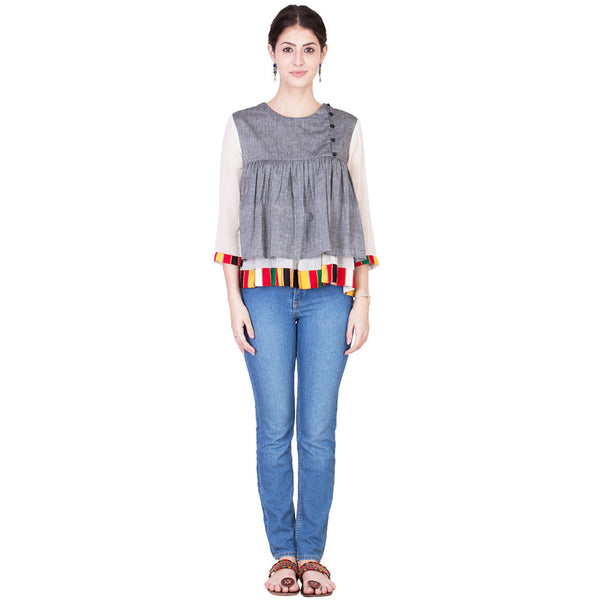 Grey Mangalgiri Cotton Top by ans by astha & sidharth