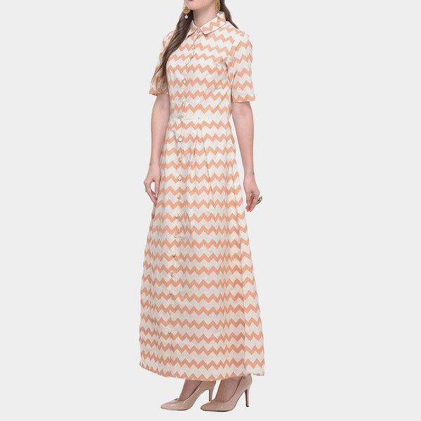 White Cotton Maxi With Zig Zag Hand Block Print