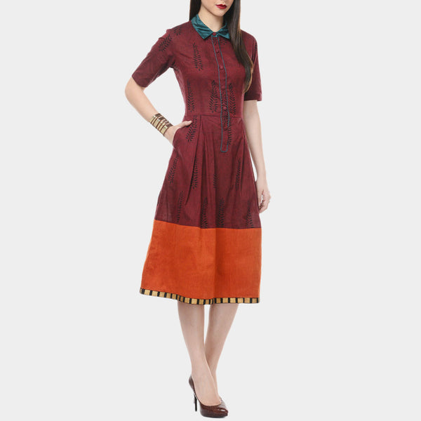 Maroon Mangalgiri Cotton Dress With Orange Border & Details In Green