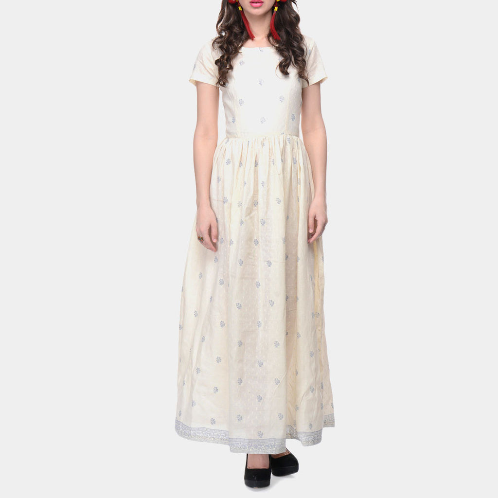 White Cotton Maxi With Blue Block Print