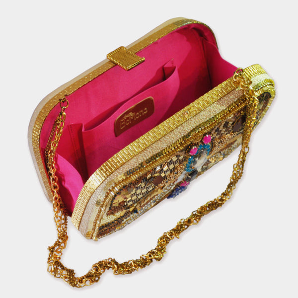 Gold Handcrafted Leather Clutch With Embroidery & Stones