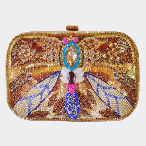 Gold Handcrafted Leather Clutch With Embroidery & Stones by BoMono