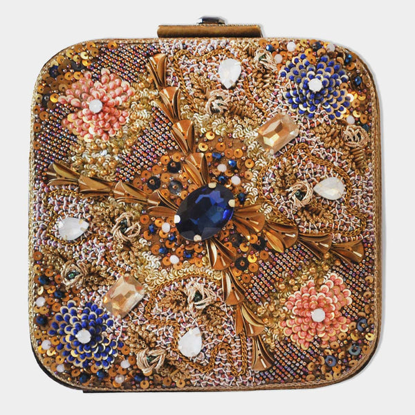 Blue Hand Embroidered Leather Clutch With Stones by BoMono