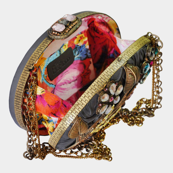 Multicolor Handcrafted Leather Clutch With Floral Metal Work & Swarovski Crystals