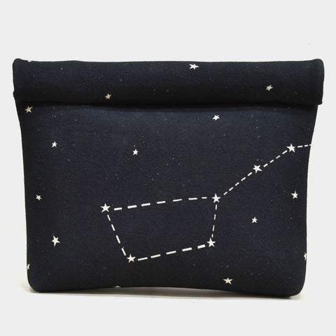 Black Constellation Roll Up Canvas Clutch by Cord