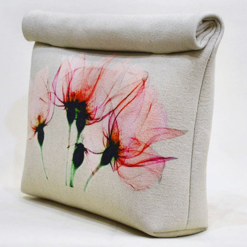 Pink Floral Bloom Roll Up Canvas clutch by Cord