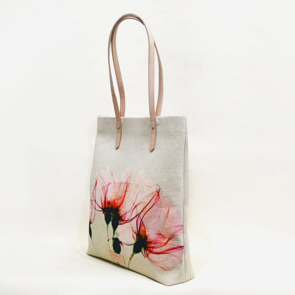 Floral Bloom Magnetic White Leather Travel Tote