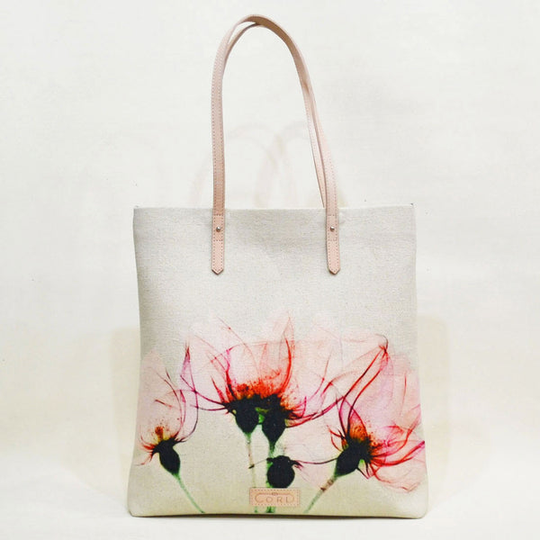 Floral Bloom Magnetic White Leather Travel Tote by Cord