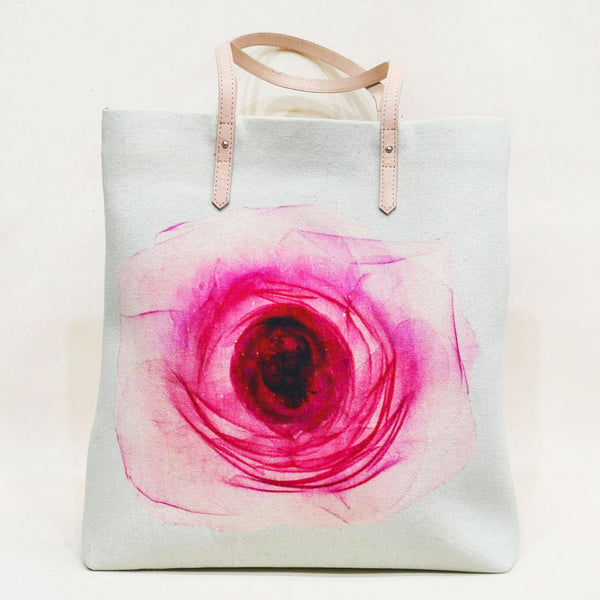 Pink Rose Magnetic Leather Travel Tote