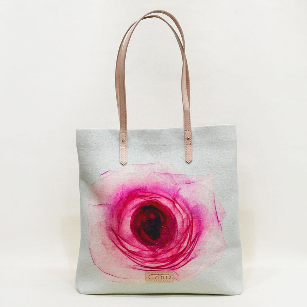 Pink Rose Magnetic Leather Travel Tote by Cord