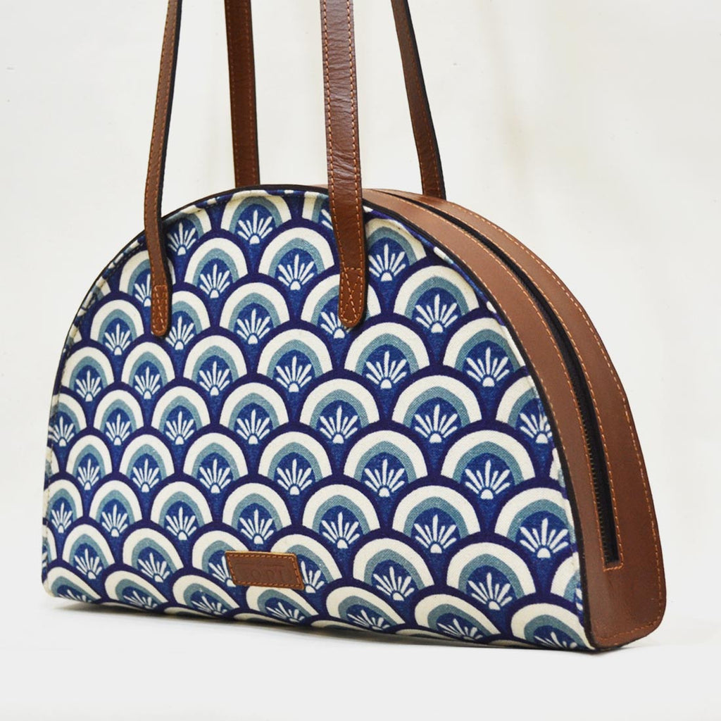Canvas & Leather Blue Hemicycle Carry Bag by Cord