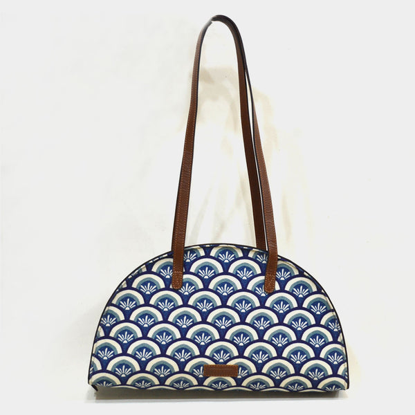 Canvas & Leather Blue Hemicycle Carry Bag
