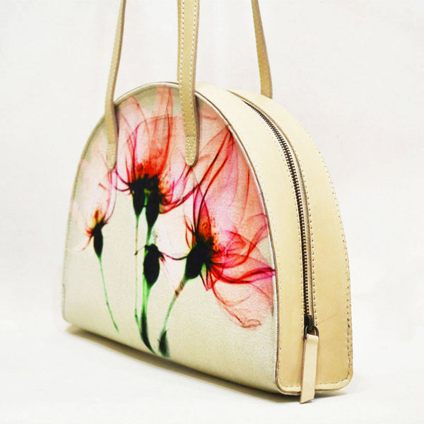 Canvas & Leather Pink Floral Bloom Hemicycle Carry Bag