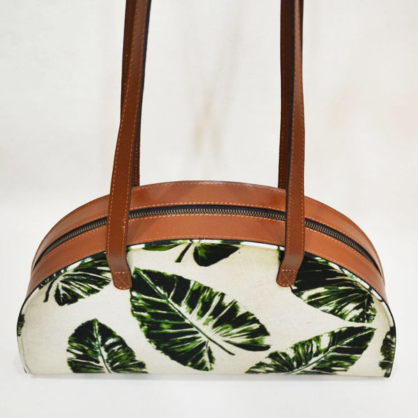 Canvas & Leather Palm Stroke Green Hemicycle Carry Bag