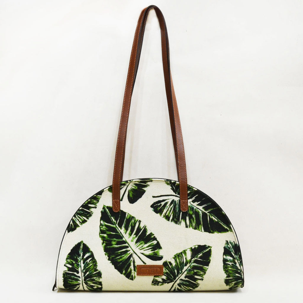 Canvas & Leather Palm Stroke Green Hemicycle Carry Bag by Cord