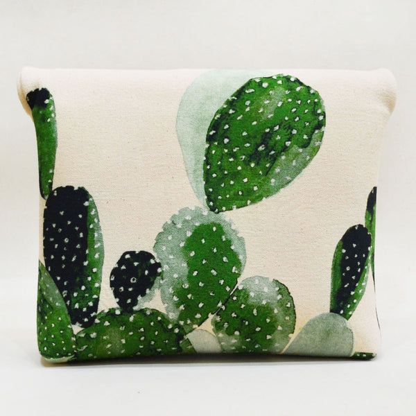 Blocked out Cacti Roll up Green Canvas Clutch