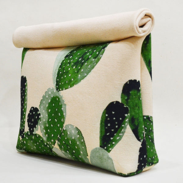 Blocked out Cacti Roll up Green Canvas Clutch by Cord