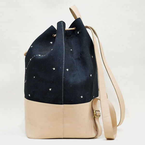 Canvas & Leather Black & White Constellation Backpack