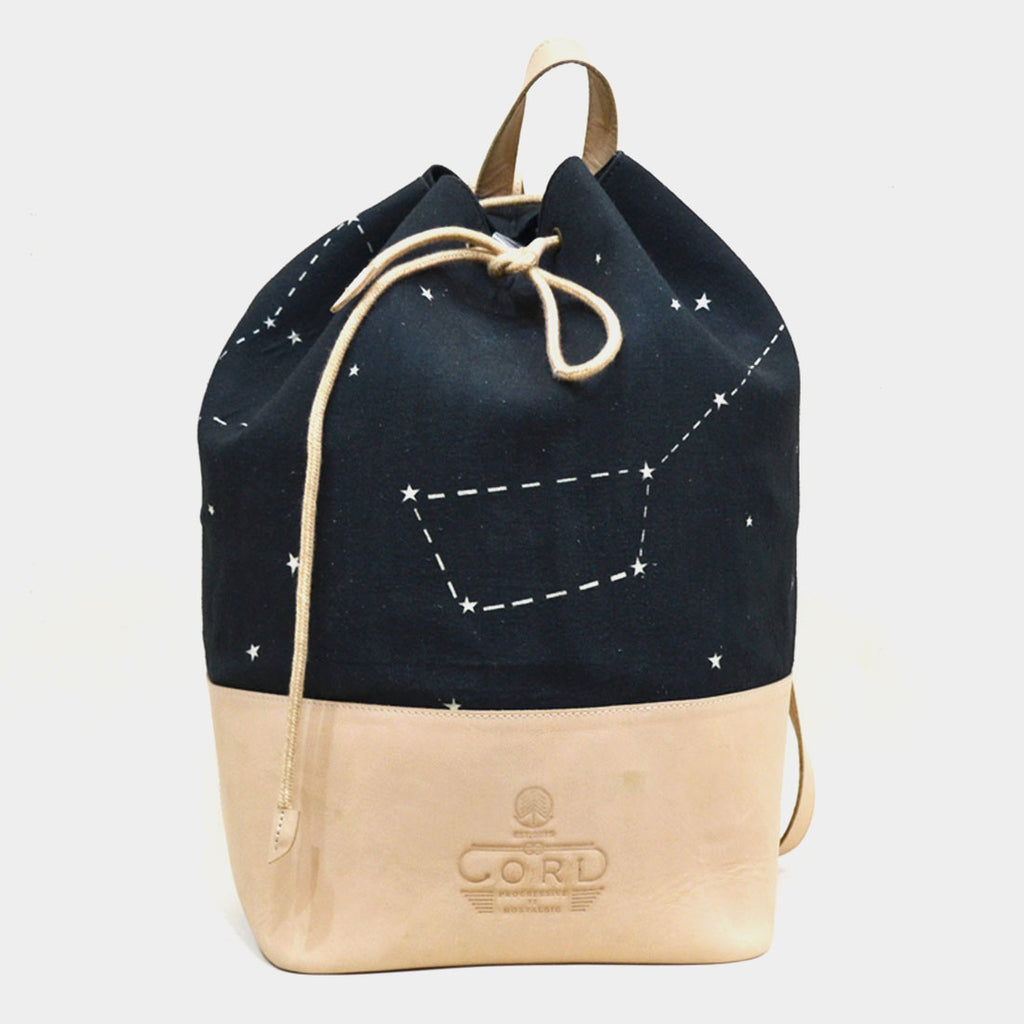 Canvas & Leather Black & White Constellation Backpack by Cord