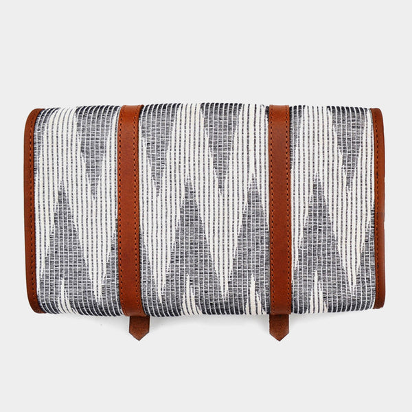 Handcrafted Gray & Ivory Leather & handwoven Fabric Voyager Kit
