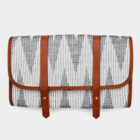 Handcrafted Gray & Ivory Leather & handwoven Fabric Voyager Kit by Cord