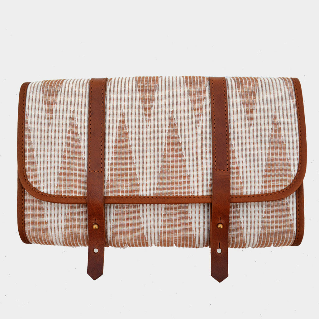 Handcrafted Beige & Ivory Leather & Handwoven Fabric Voyager Kit by Cord