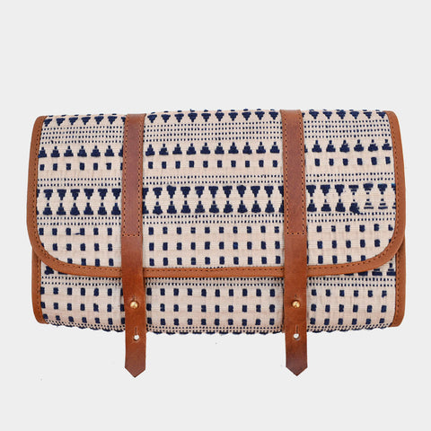 Handcrafted Beige & Indigo Leather & handwoven Fabric Voyager Kit by Cord