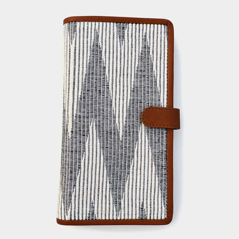 Handcrafted Gray Leather & Handwoven Fabric Passport Wallet by Cord
