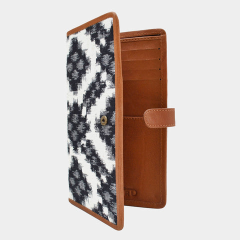 Handcrafted Black & White Leather & Handwoven Fabric Ikat Passport Case by Cord