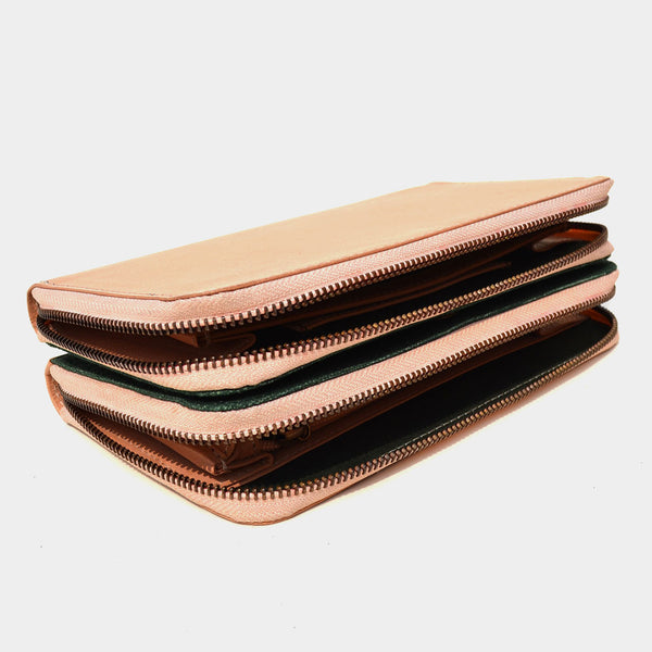Handcrafted Beige Leather Double Decker Wallet