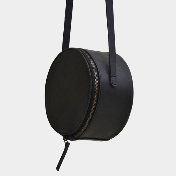 Handcrafted Black Leather Halo Sling Bag